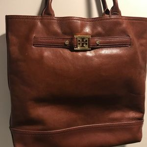 Tory Burch Leather tote in Sienna brown
